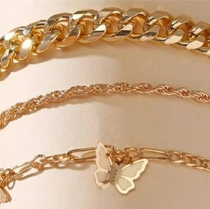 Gold plated 3 tier anklet